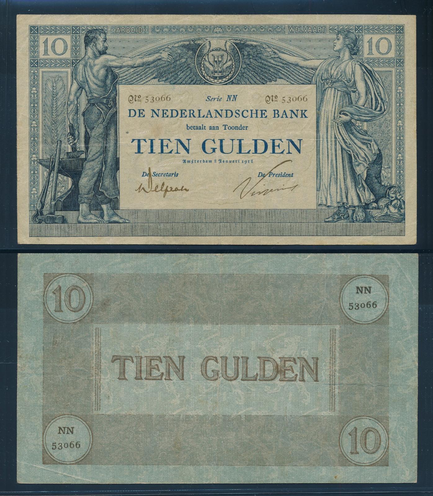 Nederland 1904 10 Gulden Wilhelmina American Bank Note Company Muntbiljet