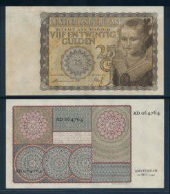 Nederland 1940 25 Gulden Prinsesje Geelbruin Bankbiljet