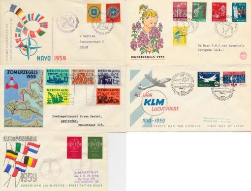 Nederland 1959 Jaargang Eerste Dag Enveloppen 1