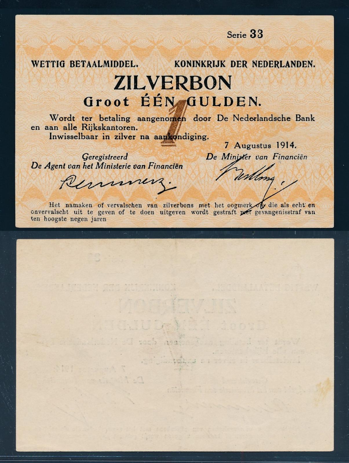 Nederland 1914 1 Gulden Zilverbon