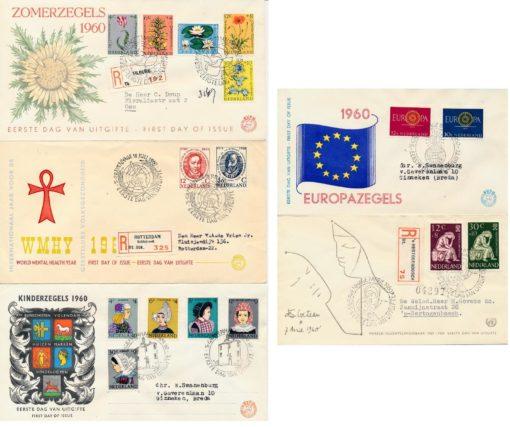 Nederland 1960 Jaargang Eerste Dag Enveloppen 1