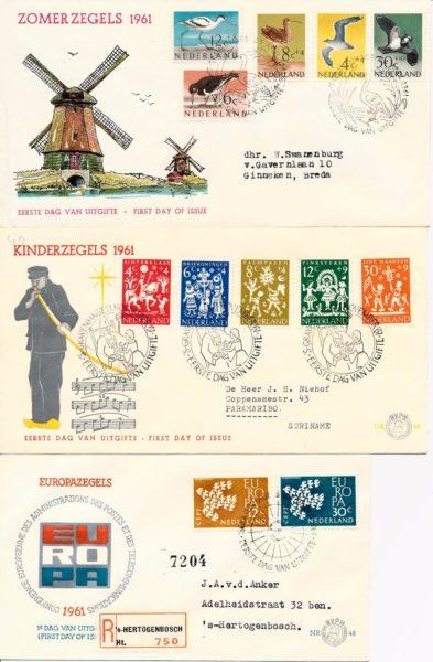 Nederland 1961 Jaargang Eerste Dag Enveloppen 1