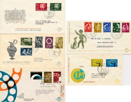 Nederland 1962 Jaargang Eerste Dag Enveloppen 1