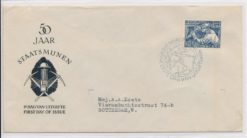 Nederland 1952 FDC 50 jaar Staatsmijnen met getypt adres E8