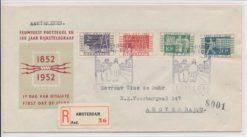Nederland 1952 FDC 110 jaar postzegels met getypt adres E10