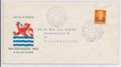 Nederland 1953 FDC Watersnood met getypt adres E12