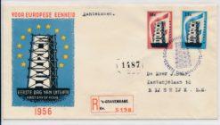 Nederland 1956 FDC Europese eenheid met getypt adres E27