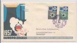 Nederland 1957 FDC Europa zegels met getypt adres E32