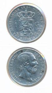 Nederland Zilveren Gulden 1864 Willem III