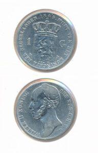 Nederland Zilveren Gulden 1845 met streepje Willem II
