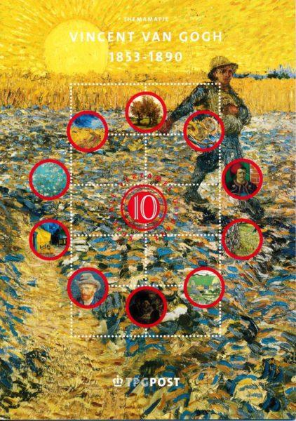 Nederland 2003 Themamapje 10 Vincent van Gogh 1853-1890 1