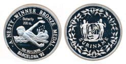 Republiek Suriname 1992 A 100 Gulden Anthony Nesty O.S. Barcelona Proof Zilver 20 gram