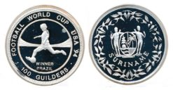 Republiek Suriname 1994 A 100 Gulden WK Voetbal USA proof