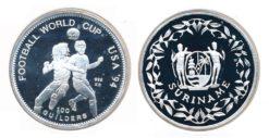 Republiek Suriname 1994 A 100 Gulden WK Voetbal USA verzilverd Proof