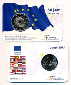Nederland 2015 2 Euro 30 jaar Europese Vlag BU Coincard