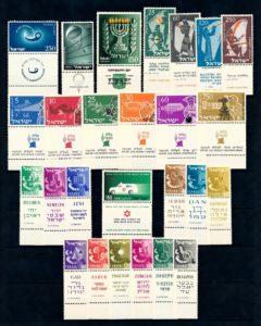Israel 1955 Complete jaargang postzegels met full-tab postfris