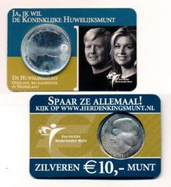 Nederland 2002 Huwelijksmunt 10 euro zilver UNC Coincard