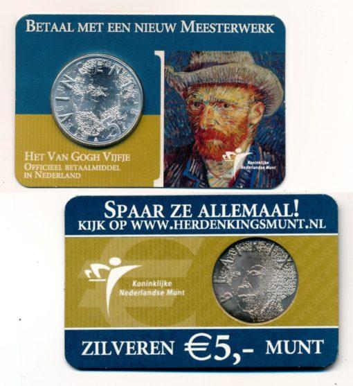 Nederland 2003 Van Gogh vijfje 5 euro zilver UNC Coincard 1