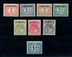 Nederland 1913 Dienst Armenwet D1-D8 ongebruikt