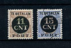 Nederland 1924 Postpakket verrekenzegels met kamtanding PV1A-PV2A gestempeld