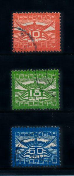 Nederland 1921 Luchtpost Allegorische Voorstelling LP1-LP3 gestempeld 1