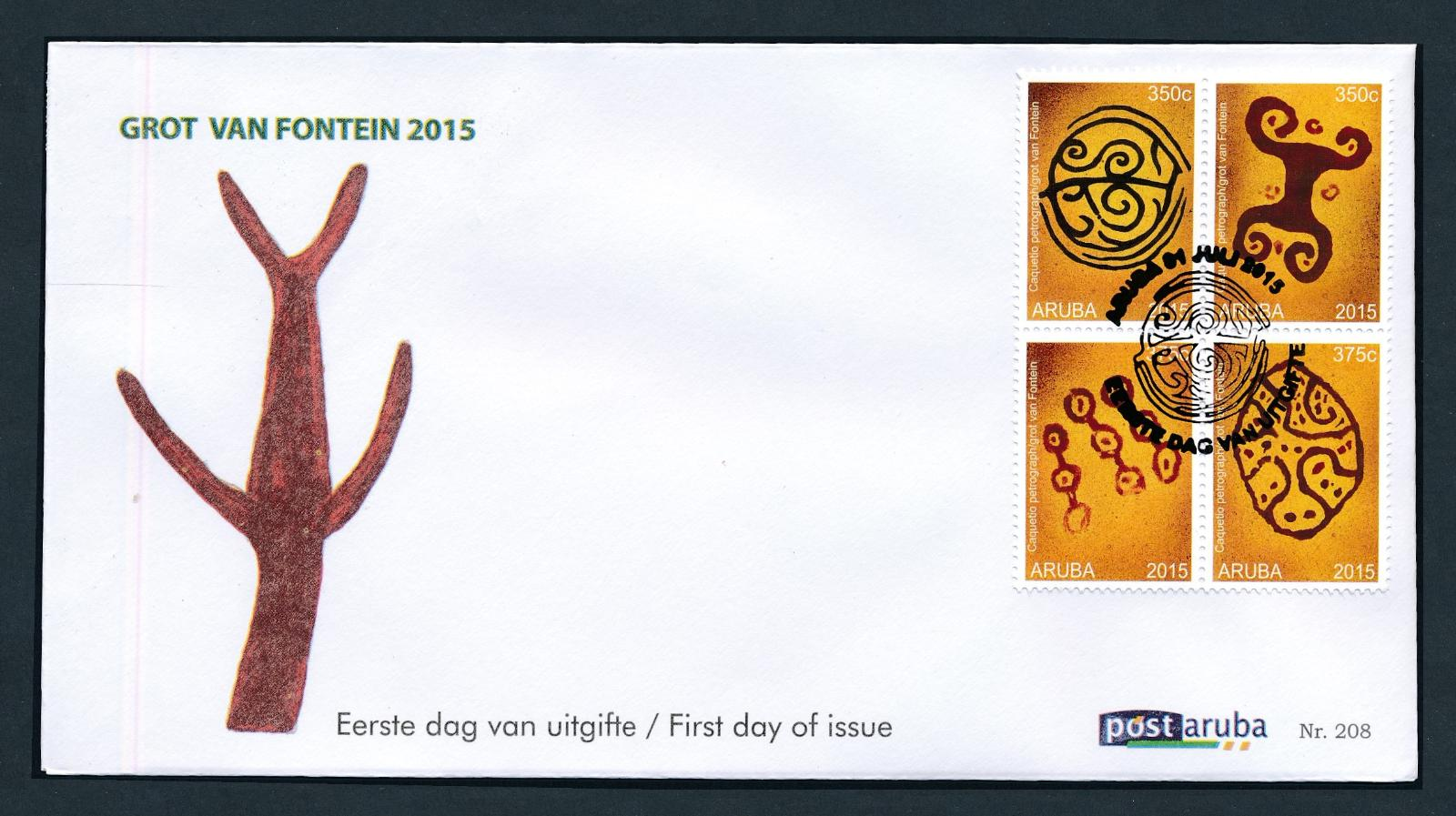 Aruba 2015 FDC Grot van Fontein, Grotkunst  E 208