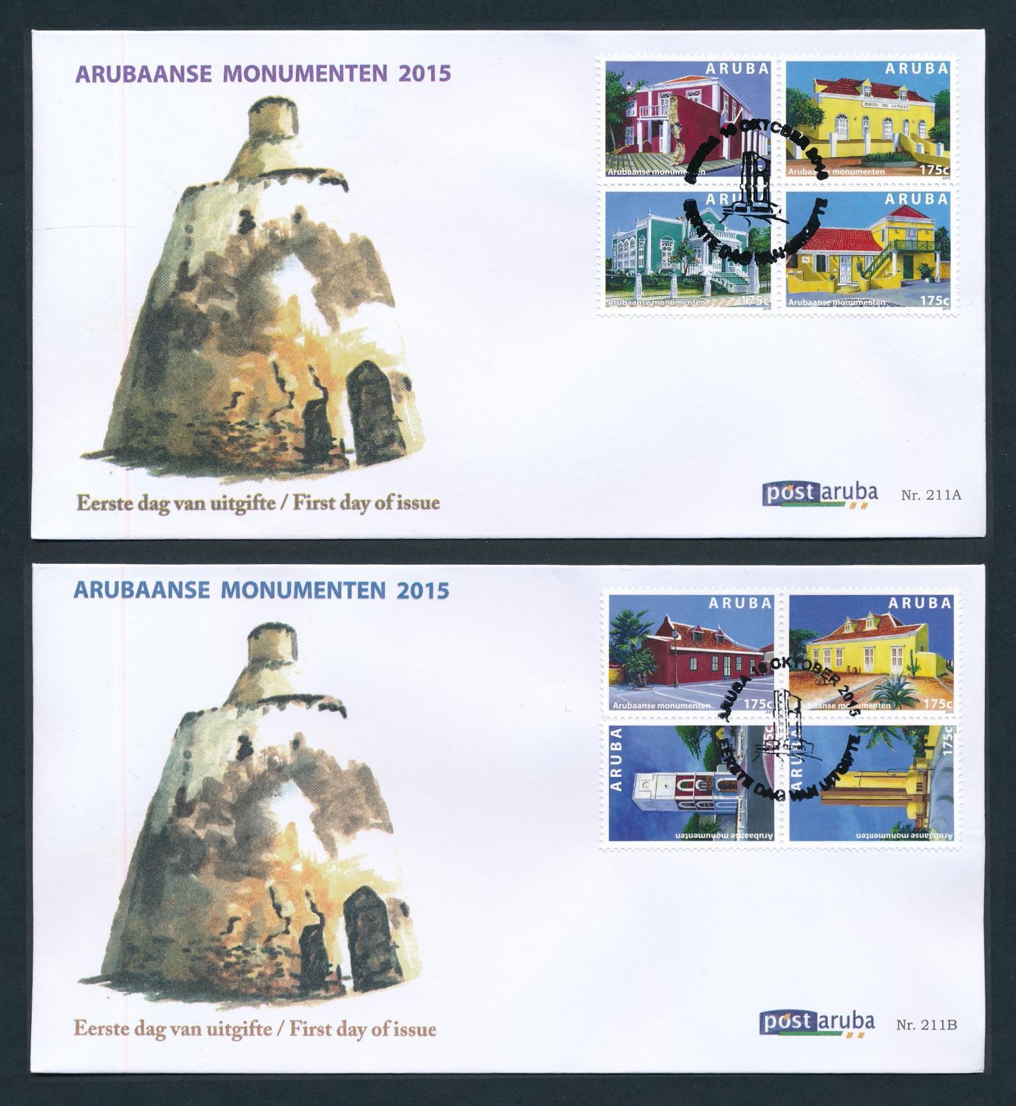 Aruba 2015 FDC Arubaanse Monumenten  E 211A/B