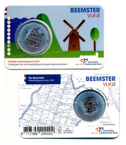 101228 Nederland 2019 Beemster vijfje UNC Coincard