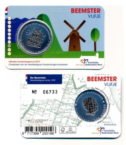 101229 Nederland 2019 Beemster vijfje BU Coincard