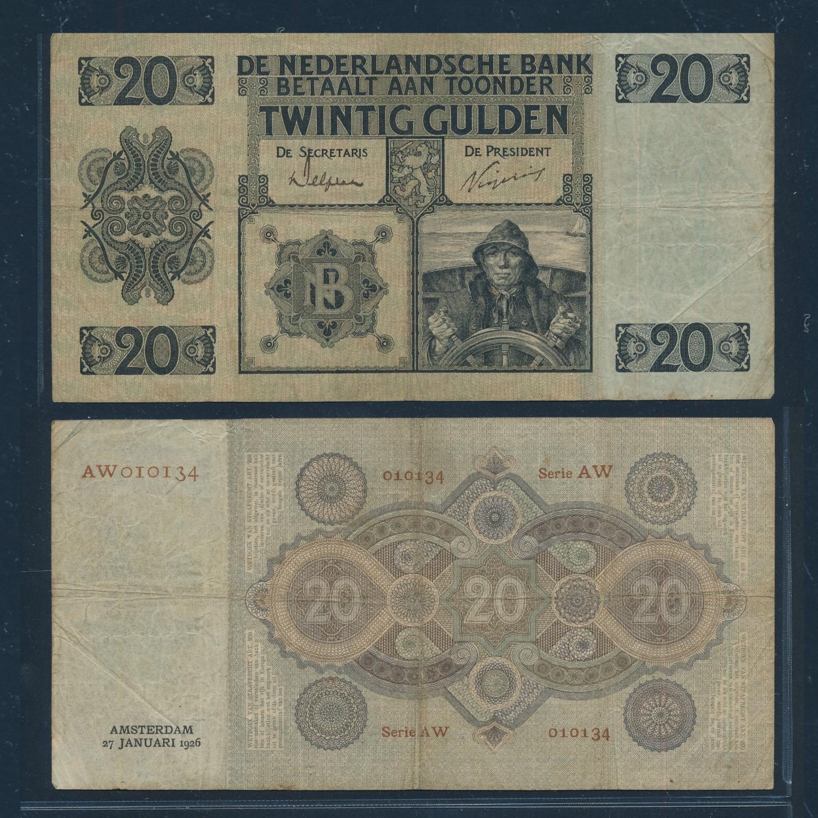 Nederland 1926 20 Gulden Stuurman Bankbiljet Zeer Fraai-