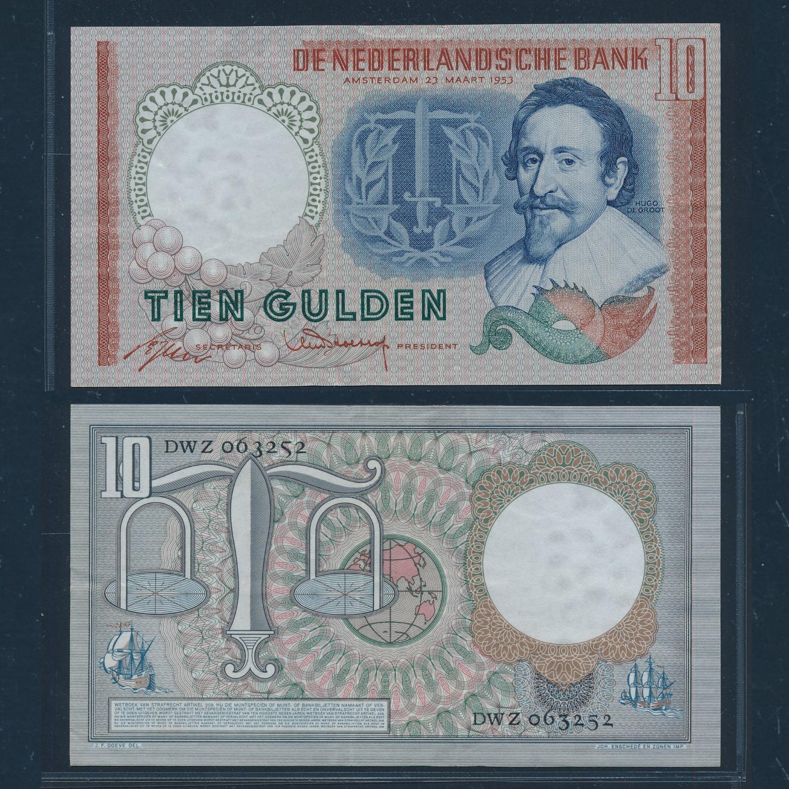 Nederland 1953 10 Gulden Hugo de Groot Bankbiljet Pracht