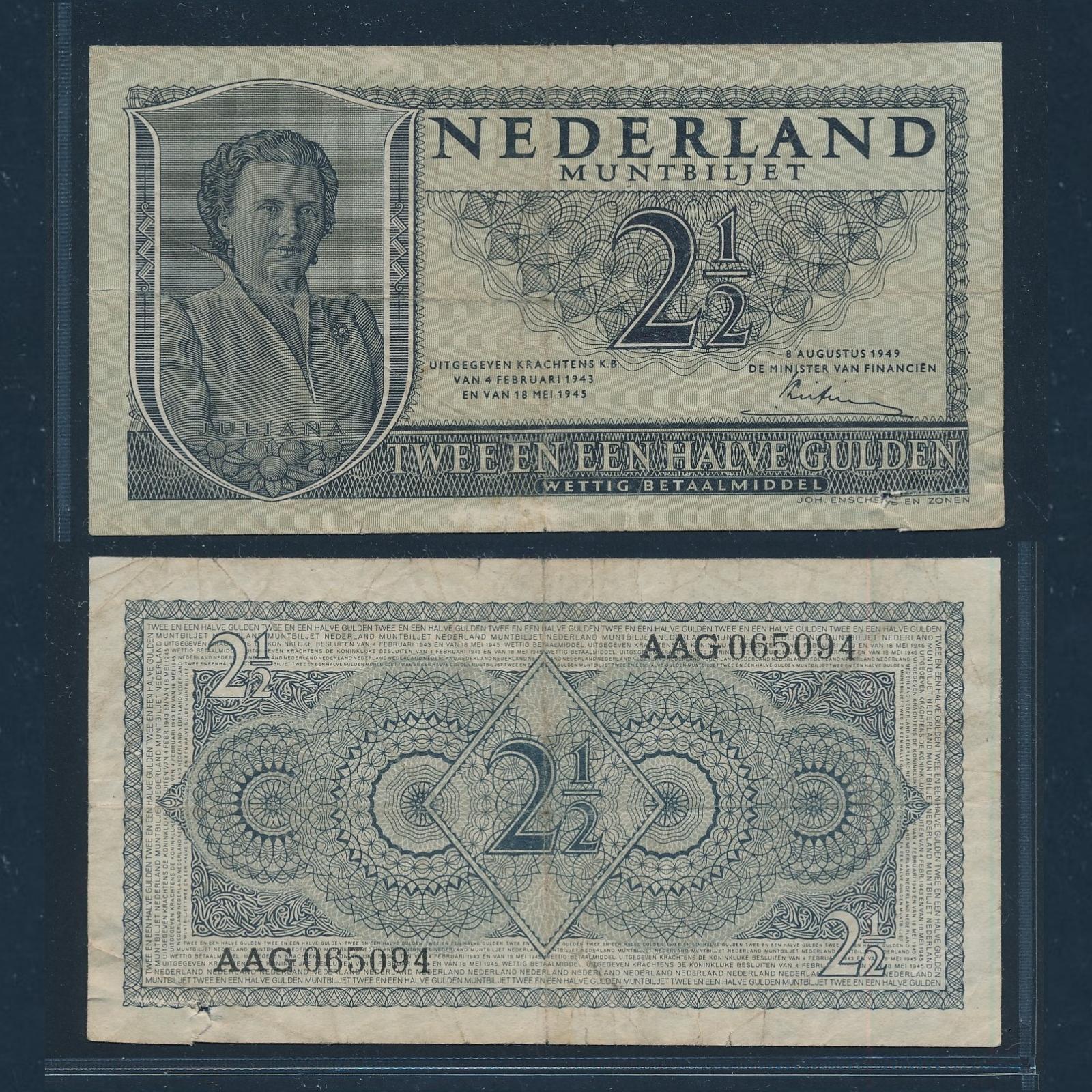 Nederland 1949 2 Gulden Juliana 3 letters 6 cijfers Muntbiljet Zeer Goed Schaars