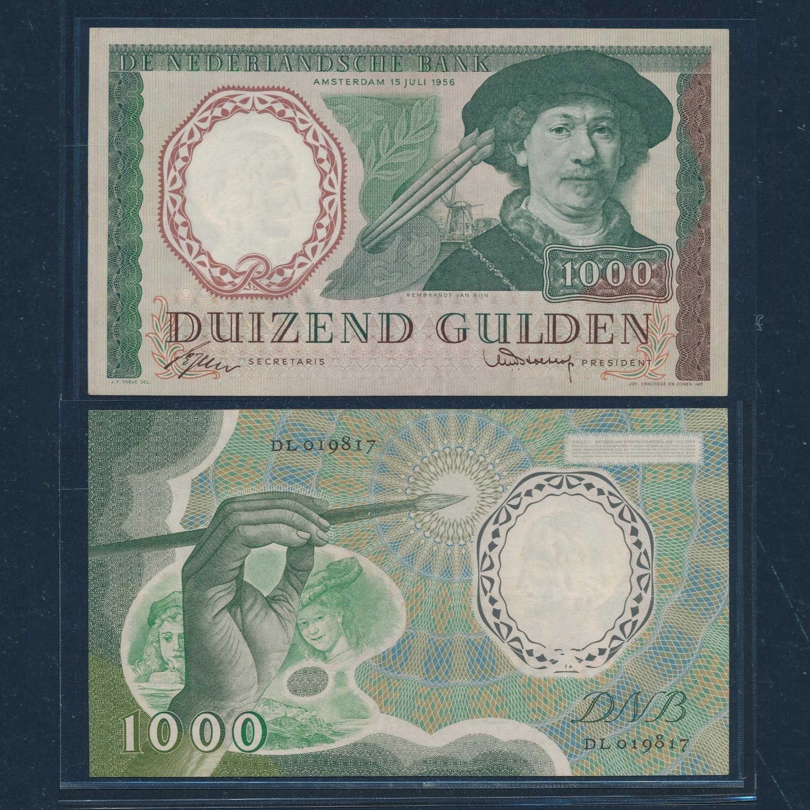 Nederland 1956 1000 Gulden Rembrandt Bankbiljet Pracht