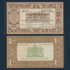 Nederland 1938 1 Gulden Zilverbon 2 letters Zeer Fraai