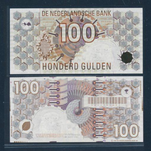 Nederland 1992 100 Gulden Steenuil Bankbiljet 124-2a UNC 1