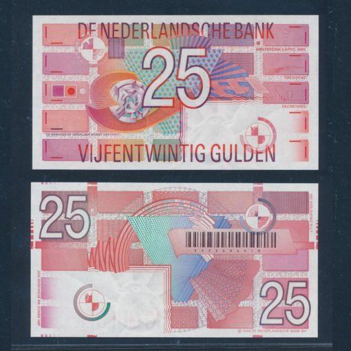 Nederland 1989 25 Gulden Roodborstje Bankbiljet 85-1 UNC 1