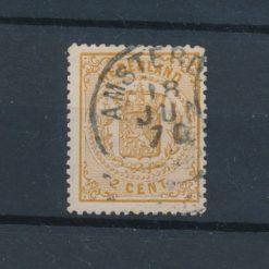 Nederland 1869 Wapenzegel 2 ct bruingeel NVPH 17 Gestempeld