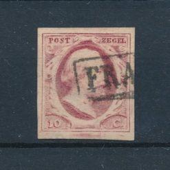 Nederland 1852 Koning Willem III 10 ct karmijn tot rood NVPH 2 Gestempeld
