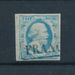 Nederland 1852 Koning Willem III 5 ct donker tot lichtblauw NVPH 1 Gestempeld