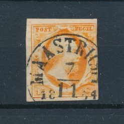 Nederland 1852 Koning Willem III 15 ct donker tot geel oranje NVPH 3 Gestempeld