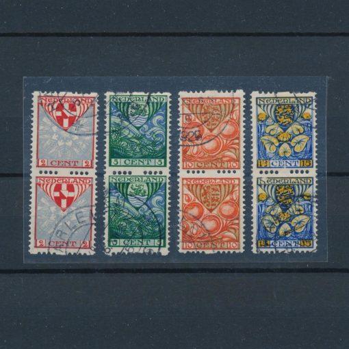 Nederland 1926 Kinderzegels roltanding R74-R77 verticaal paar gestempeld 1