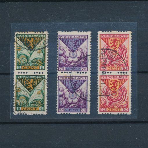 Nederland 1925 Kinderzegels roltanding R71-R73 verticaal paar gestempeld 1