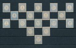 Nederland 1907 Portzegels Overdruk op M.A. de Ruyter NVPH P31-P43 postfris