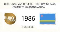 Aruba 1986 Complete jaargang Eerste Dag Enveloppen