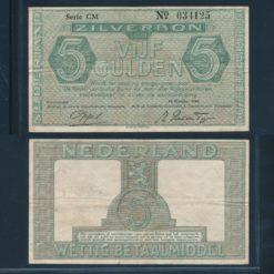 Nederland 1944 5 Gulden Zilverbon Zeer fraai