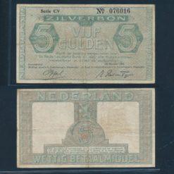 Nederland 1944 5 Gulden Zilverbon Zeer fraai -