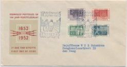 Nederland 1952 FDC 100 jaar postzegels met getypt adres E10
