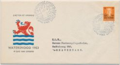 Nederland 1953 FDC Watersnood met getypt adres E12