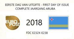 Aruba 2018 Complete jaargang Eerste Dag Enveloppen