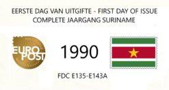 Suriname 1990 Complete jaargang Eerste Dag Enveloppen